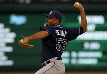 ARLINGTON, TX - OCTOBER 09:  Joaquin Benoit #53 of the Tampa Bay Rays throws a pitch against the Texas Rangers during game three of the ALDS at Rangers Ballpark in Arlington on October 9, 2010 in Arlington, Texas.  The Rays won 6-3.  (Photo by Stephen Dun