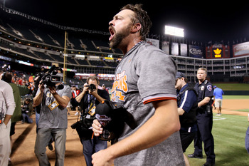 ARLINGTON, TX - NOVEMBER 01:  Closing pitcher Brian Wilson #38 of the San Francisco Giants celebrates on the field after they won 3-1 against the Texas Rangers in Game Five of the 2010 MLB World Series at Rangers Ballpark in Arlington on November 1, 2010