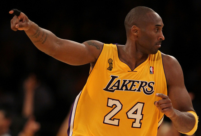 LOS ANGELES, CA - OCTOBER 26:  Kobe Bryant #24 of the Los Angeles Lakers reacts to a play against the Houston Rockets during their opening night game at Staples Center on October 26, 2010 in Los Angeles, California. NOTE TO USER: User expressly acknowledg