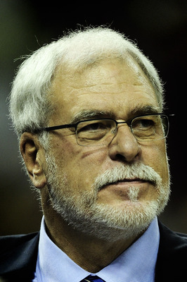 BARCELONA, SPAIN - OCTOBER 07:  Head Coach Phil Jackson of the Los Angeles Lakers looks on during the NBA Europe Live match between Los Angeles Lakers and Regal FC Barcelona at the at Palau Blaugrana on October 7, 2010 in Barcelona, Spain.  (Photo by Davi