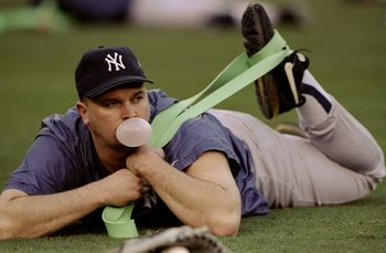 19 Oct 1998:  Pitcher David Wells #33 of the New York Yankees looks on during a workout for the 1998 World Series game against the San Diego Padres at Qualcomm Stadium in San Diego, California. Mandatory Credit: Todd Warshaw  /Allsport