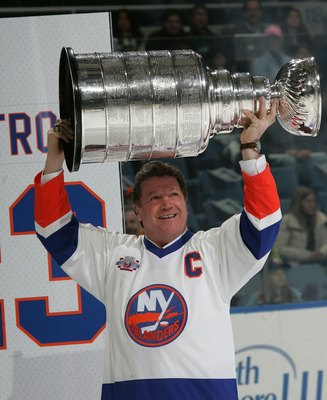 UNIONDALE, NY - MARCH 02:  Denis Potvin of 'The 'Core of the Four' New York Islanders Stanley Cup championships take part in a ceremony prior to the Islanders game against the Florida Panthers on March 2, 2008 at the Nassau Coliseum in Uniondale, New York