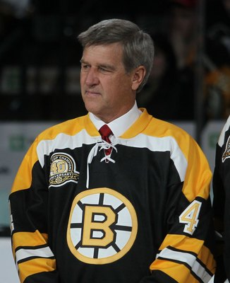 BOSTON - MARCH 18: Bobby Orr takes part in a celebration honoring the 1970 Boston Bruin Championship team prior to the game between the Bruins and the Pittsburgh Penguins of the Boston Bruins at the TD Garden on March 18, 2010 in Boston, Massachusetts.  (