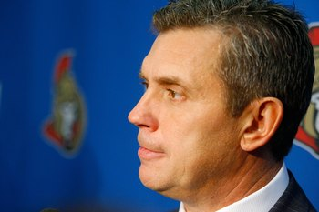 OTTAWA - SEPTEMBER 20:  Head Coach Craig Hartsburg of the Ottawa Senators looks on during a press conference on September 20, 2008 at the Scotiabank Place in Ottawa, Canada.  The Ottawa Senators defeated the New York Rangers 3-2.  (Photo by Phillip MacCal