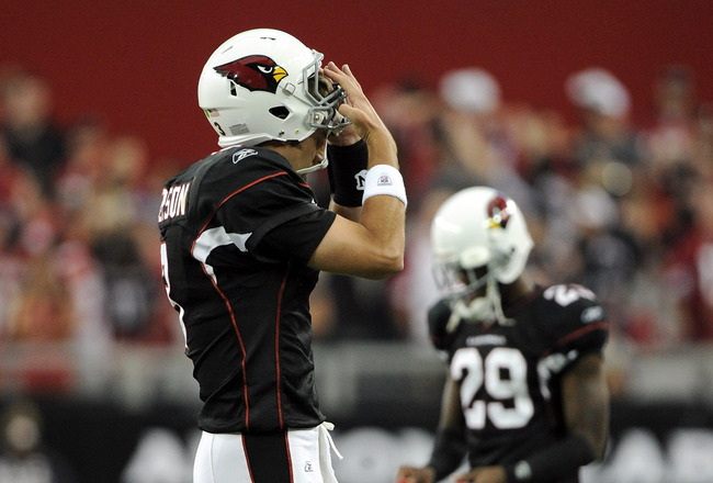 GLENDALE, AZ - OCTOBER 31:  Derek Anderson #3 of the Arizona Cardinals reacts as he leaves the field after throwing an interception toAqib Talib #25 of the Tampa Bay Buccaneers during the fourth quarter at University of Phoenix Stadium on October 31, 2010