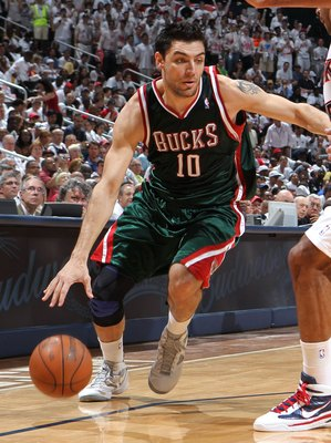 ATLANTA - MAY 2:  Forward Carlos Delfino #10 of the Milwaukee Bucks dribbles with the ball during Game Seven of the Eastern Conference Quarterfinals between the Milwaukee Bucks and the Atlanta Hawks during the 2010 NBA Playoffs at Philips Arena on May 2,
