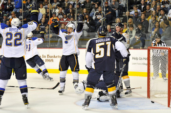 NASHVILLE, TN - OCTOBER 28:  Andy McDonald #10 and Brad Boyes #22 of the St. Louis Blues celebrate a goal against Francis Bouillon #51 and the Nashville Predators at the Bridgestone Arena on October 28, 2010 in Nashville, Tennessee.  (Photo by Frederick B