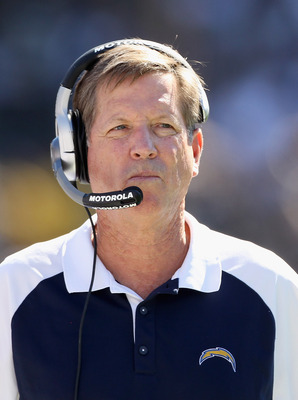 OAKLAND, CA - OCTOBER 10:  Head coach Norv Turner of the San Diego Chargers stands on the sidelines during their game against the Oakland Raiders at Oakland-Alameda County Coliseum on October 10, 2010 in Oakland, California.  (Photo by Ezra Shaw/Getty Ima