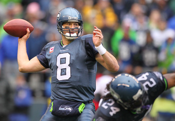 SEATTLE - OCTOBER 24:  Quarterback Matt Hasselbeck #8 of the Seattle Seahawks passes against the Arizona Cardinals at Qwest Field on October 24, 2010 in Seattle, Washington. (Photo by Otto Greule Jr/Getty Images)