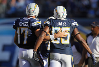 SAN DIEGO - OCTOBER 31:  Quarterback Philip Rivers #17 and tight end Antonio Gates #85 of the San Diego Chargers walk up the sideline together against the Tennessee Titans in the fourth quarter at Qualcomm Stadium on October 31, 2010 in San Diego, Califor