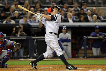 NEW YORK - OCTOBER 19:  Lance Berkman #17 of the New York Yankees hits a foul ball that was thought to be a homerun in the second inning against the Texas Rangers in Game Four of the ALCS during the 2010 MLB Playoffs at Yankee Stadium on October 19, 2010