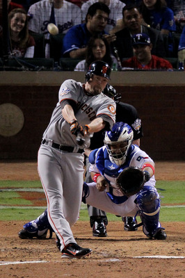 ARLINGTON, TX - OCTOBER 31:  Aubrey Huff #17 of the San Francisco Giants hits a 2-run home run against the Texas Rangers in the top of the third inning of Game Four of the 2010 MLB World Series at Rangers Ballpark in Arlington on October 31, 2010 in Arlin