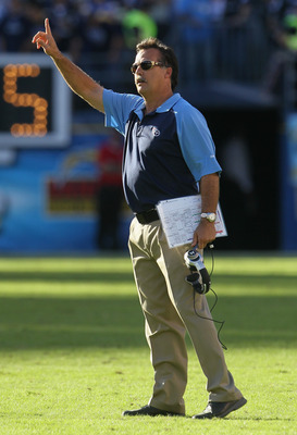SAN DIEGO - OCTOBER 31:  Tennessee Titans head coach Jeff Fisher gestures from the sideline against the San Diego Chargers at Qualcomm Stadium on October 31, 2010 in San Diego, California. The Chargers defeated the Titans 33-25.  (Photo by Jeff Gross/Gett
