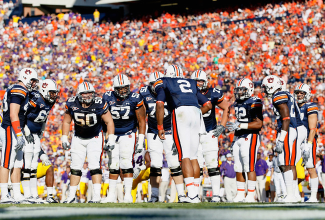 AUBURN, AL - OCTOBER 23:  Quarterback Cameron Newton #2 of the Auburn Tigers huddles the offense against the LSU Tigers at Jordan-Hare Stadium on October 23, 2010 in Auburn, Alabama.  (Photo by Kevin C. Cox/Getty Images)