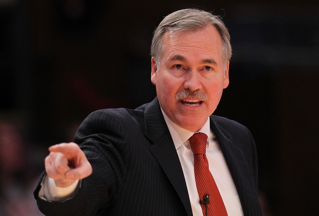 NEW YORK - OCTOBER 30:  Head Coach of the New York Knicks Mike D'Antoni reacts against the Portland Trail Blazers at Madison Square Garden on October 30, 2010 in New York City. NOTE TO USER: User expressly acknowledges and agrees that, by downloading and