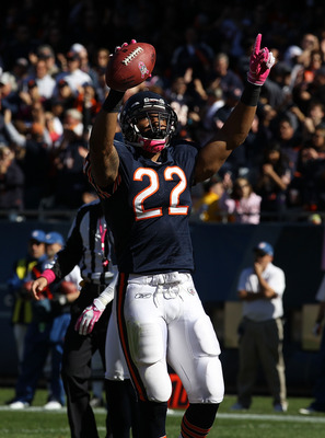 CHICAGO - OCTOBER 17: Matt Forte #22 of the Chicago Bears celebrates after scoring a touchdown against the Seattle Seahawks at Soldier Field on October 17, 2010 in Chicago, Illinois. The Seahawks defeated the Bears 23-20. (Photo by Jonathan Daniel/Getty I