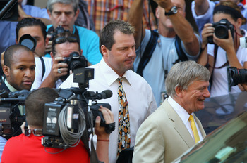 WASHINGTON - AUGUST 30:  Baseball pitching star Roger Clemens walks out of the U.S. District Court after his arraignment, on August 30, 2010 in Washington, DC. Seven-time Cy Young Award winner Clemens who plead not-guilty was charged with making false sta