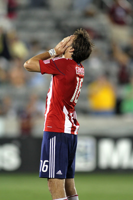 COMMERCE CITY, CO - SEPTEMBER 4 :  Alan Gordon #16 of Chivas USA reacts as time expires on a 3-0 loss to the Colorado Rapids at Dick's Sporting Goods Park on September 4, 2010 in Commerce City, Colorado. (Photo by Marc Piscotty/Getty Images)