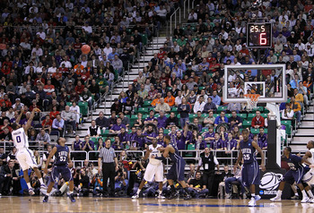 SALT LAKE CITY - MARCH 25:  Jacob Pullen #0 of the Kansas State Wildcats puts up a three point shot late in regulation against the Xavier Musketeers during the west regional semifinal of the 2010 NCAA men's basketball tournament at the Energy Solutions Ar