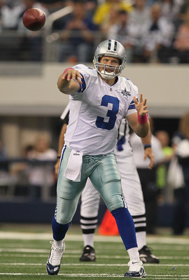 ARLINGTON, TX - OCTOBER 31:  Jon Kitna #3 of the Dallas Cowboys throws a pass against the Jacksonville Jaguars at Cowboys Stadium on October 31, 2010 in Arlington, Texas.  (Photo by Stephen Dunn/Getty Images)