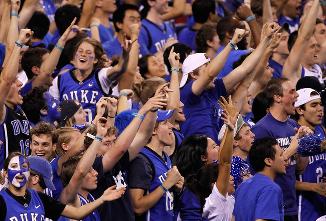 INDIANAPOLIS - APRIL 03:  Fans of the Duke Blue Devils react in the second half while taking on the West Virginia Mountaineers during the National Semifinal game of the 2010 NCAA Division I Men's Basketball Championship at Lucas Oil Stadium on April 3, 20