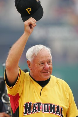 PITTSBURGH - JULY 09:  Bill Mazeroski of the National Team is introduced before the start of the Taco Bell All-Star Legends & Celebrity Softball Game against the American Team at PNC Park on July 9, 2006 in Pittsburgh, Pennsylvania.  (Photo by Jamie Squir