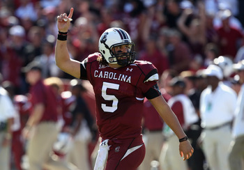COLUMBIA, SC - OCTOBER 30:  Stephen Garcia #5 of the South Carolina Gamecocks celebrates after throwing a touchdown pass against the Tennessee Volunteers during their game at Williams-Brice Stadium on October 30, 2010 in Columbia, South Carolina.  (Photo
