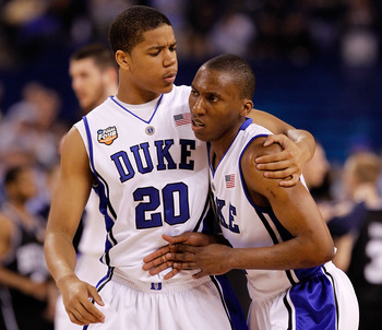 INDIANAPOLIS - APRIL 05:  (L-R) Andre Dawkins #20 and Nolan Smith #2 of of the Duke Blue Devils react in the first half against the Butler Bulldogs during the 2010 NCAA Division I Men's Basketball National Championship game at Lucas Oil Stadium on April 5