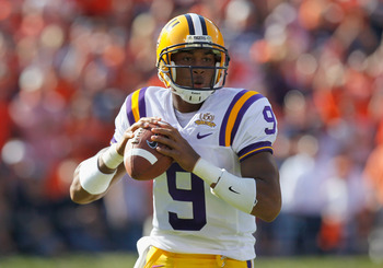 AUBURN, AL - OCTOBER 23:  Quarterback Jordan Jefferson #9 of the LSU Tigers looks to pass upfield against the Auburn Tigers at Jordan-Hare Stadium on October 23, 2010 in Auburn, Alabama.  (Photo by Kevin C. Cox/Getty Images)