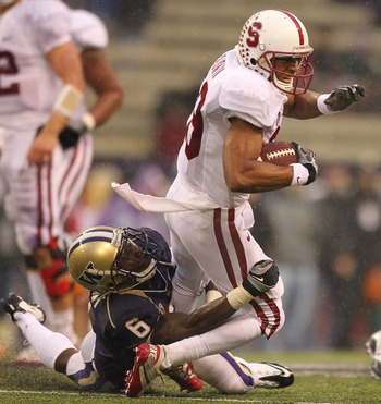 SEATTLE - OCTOBER 30:  Wide receiver Doug Baldwin #89 of the Stanford Cardinal rushes against Desmond Trufant #6 of the Washington Huskies on October 30, 2010 at Husky Stadium in Seattle, Washington. (Photo by Otto Greule Jr/Getty Images)