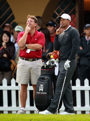 SHANGHAI, CHINA - NOVEMBER 03:  Tiger Woods of the USA talks with AP Golf Writer Doug Ferguson during the pro-am prior to the start of the WGC-HSBC Champions at Sheshan International Golf Club on November 3, 2010 in Shanghai, China.  (Photo by Andrew Redi