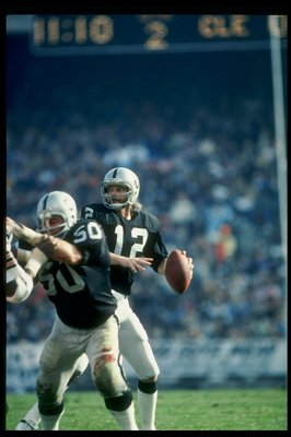 9 Dec 1979:  Quarterback Ken Stabler of the Oakland Raiders prepares to pass the ball during a game against the Cleveland Browns at the Oakland-Alameda County Coliseum in Oakland, California.  The Raiders won the game 19-14. Mandatory Credit: Allsport  /A