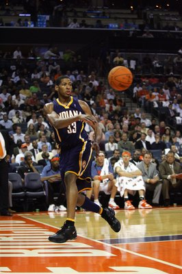 CHARLOTTE, NC - NOVEMBER 1:  Danny Granger #33 of the Indiana Pacers throws the ball inbounds during the game against the Charlotte Bobcats on November 1, 2006 at the Charlotte Bobcats Arena in Charlotte, North Carolina.  The Pacers won 106-99.  NOTE TO U