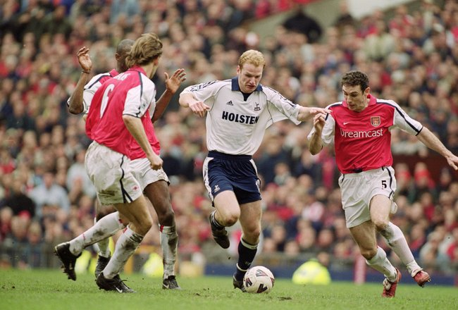8 Apr 2001:  Gary Doherty of Tottenham Hotspur takes the ball past Tony Adams (left), Patrick Vieira (centre) and Martin Keown (right) of Arsenal during the AXA sponsored FA Cup Semi-Final match played at Old Trafford, in Manchester, England. Arsenal wont