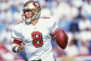 4 Oct 1998:  Quarterback Steve Young #8 of the San Francisco 49ers in action during a game against the Buffalo Bills at the Bills Stadium in Orchard Park, New York. The Bills defeated the 49ers 26-21.