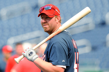 WASHINGTON - JULY 30:  Adam Dunn #44 of the Washington Nationals warms up before the game against the Philadelphia Phillies at Nationals Park on July 30, 2010 in Washington, DC.  (Photo by Greg Fiume/Getty Images)