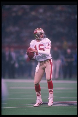 28 Jan 1990:  Quarterback Joe Montana of the San Francisco 49ers looks to pass the ball during Super Bowl XXIV against the Denver Broncos at the Superdome in New Orleans, Louisiana.  The 49ers won the game, 55-10. Mandatory Credit: Rick Stewart  /Allsport
