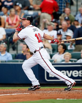 ATLANTA - JULY 15:  Chipper Jones #10 of the Atlanta Braves against the Milwaukee Brewers at Turner Field on July 15, 2010 in Atlanta, Georgia.  (Photo by Kevin C. Cox/Getty Images)