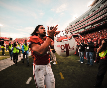 LINCOLN, NE - OCTOBER 30: Running back Roy Helu Jr. #10 cheers the Husker faithful after their game against the Missouri Tigers at Memorial Stadium on October 30, 2010 in Lincoln, Nebraska. Nebraska Defeated Missouri 31-17. (Photo by Eric Francis/Getty Im