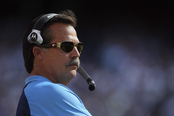 SAN DIEGO - OCTOBER 31:  Tennessee Titans head coach Jeff Fisher looks on from the sideline against the San Diego Chargers at Qualcomm Stadium on October 31, 2010 in San Diego, California. The Chargers defeated the Titans 33-25.  (Photo by Jeff Gross/Gett