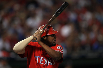 ARLINGTON, TX - OCTOBER 15:  Vladimir Guerrero #27 of the Texas Rangers bats against the New York Yankees in Game One of the ALCS during the 2010 MLB Playoffs at Rangers Ballpark in Arlington on October 15, 2010 in Arlington, Texas.  (Photo by Stephen Dun