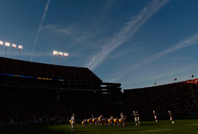 AUBURN, AL - OCTOBER 23:  A general view of Jordan-Hare Stadium during play between the Auburn Tigers and the LSU Tigers at Jordan-Hare Stadium on October 23, 2010 in Auburn, Alabama.  (Photo by Kevin C. Cox/Getty Images)