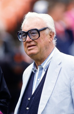 13 Oct 1995: CHICAGO CUBS ANNOUNCER HARRY CARAY BEFORE A CUBS GAME VERSUS THE SAN FRANCISCO GIANTS AT CANDLESTICK PARK IN SAN FRANCISCO, CALIFORNIA.