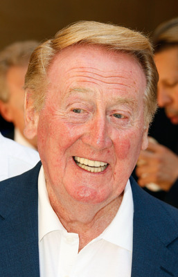 HOLLYWOOD - JUNE 20:  Dodgers radio announcer Vin Scully attends a special star ceremony honoring the Los Angeles Dodgers with an Award of Excellence on the Hollywood Walk of Fame on June 20, 2008 in Hollywood, California.  (Photo by Vince Bucci/Getty Ima