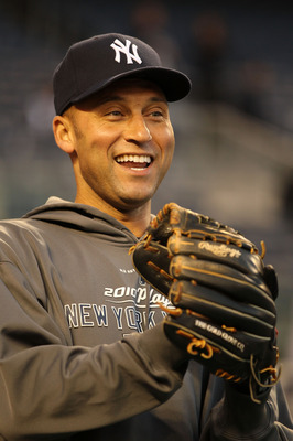 NEW YORK - OCTOBER 19:  Derek Jeter #2 of the New York Yankees smiles during batting practice against the Texas Rangers in Game Four of the ALCS during the 2010 MLB Playoffs at Yankee Stadium on October 19, 2010 in the Bronx borough of New York City.  (Ph