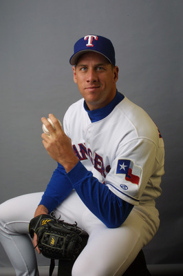 27 Feb 2002: John Rocker of the Texas Rangers poses during media day at Charlotte County Stadium in Port Charlotte, Florida. DIGITAL IMAGE  Mandatory Credit: Rick Stewart/Getty Images