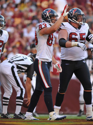 LANDOVER - SEPTEMBER 19:  Kevin Walter #83 of the Houston Texans celebrates his touchdown against the Washington Redskins at FedExField on September 19, 2010 in Landover, Maryland. The Texans defeated the Redskins in overtime 30-27. (Photo by Larry French