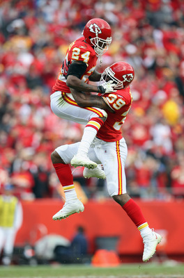 KANSAS CITY, MO - OCTOBER 31:  Brandon Flowers #24 and Brandon Carr #39 of the Kansas City Chiefs celebrate after a tackle during the game against the Buffalo Bills on October 31, 2010  at Arrowhead Stadium in Kansas City, Missouri.  (Photo by Jamie Squir