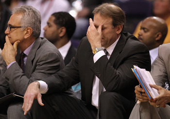 PHOENIX - MARCH 16:  Head coach Kurt Rambis of the Minnesota Timberwolves reacts during the NBA game against the Phoenix Suns at US Airways Center on March 16, 2010 in Phoenix, Arizona. The Suns defeated the Timberwolves 152-114.  NOTE TO USER: User expre