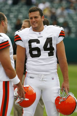 OAKLAND, CA - SEPTEMBER 23:  Long-snapper Ryan Pontbriand #64 of the Cleveland Browns smiles while talking to a teammate prior to a 26-24 loss to the Oakland Raiders at McAfee Coliseum on September 23, 2007 in Oakand, California.  (Photo by Kevin Terrell/